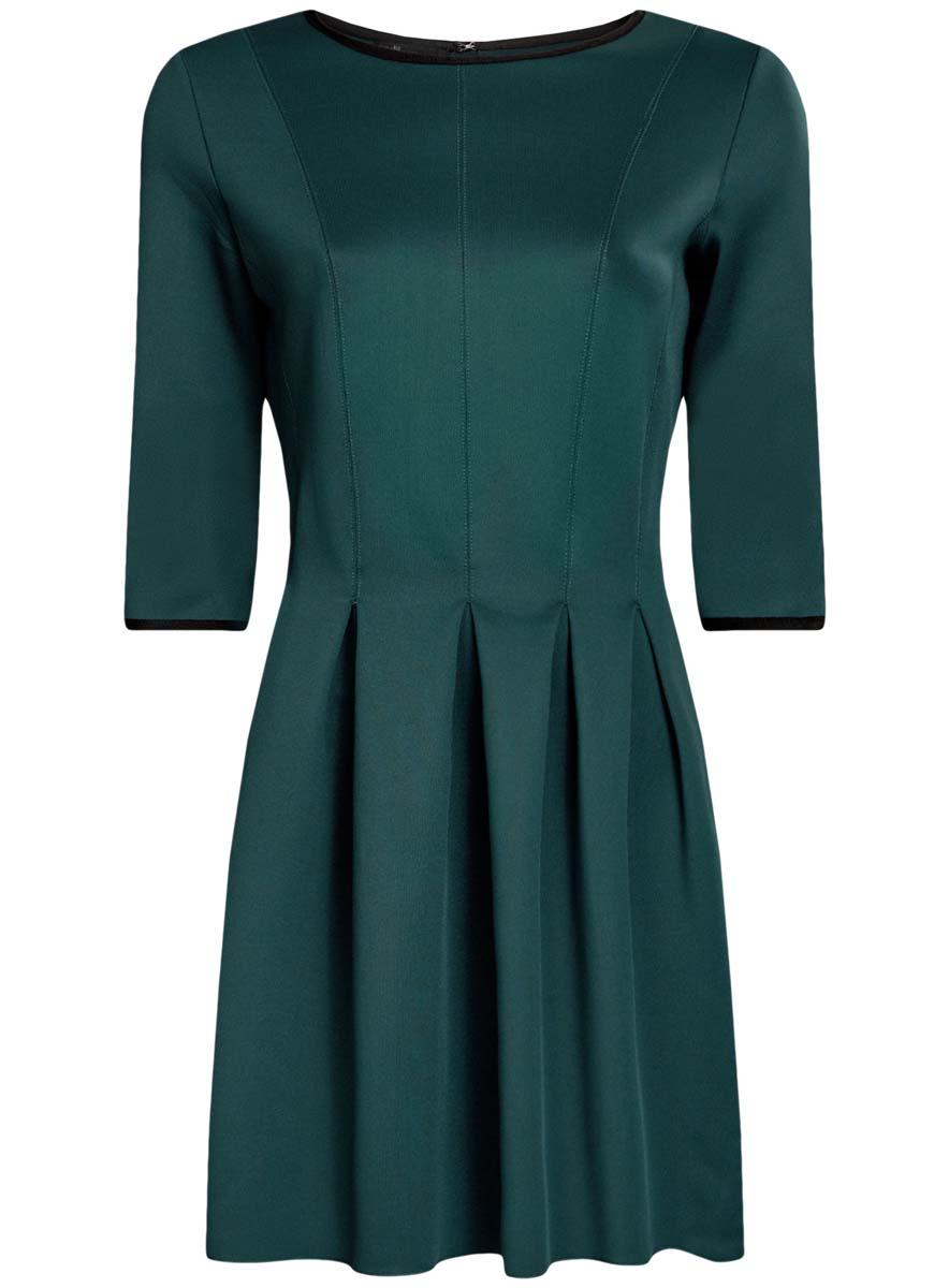 Платье14001148-1/33735/1229EПлатье oodji Ultra изготовлено из эластичной плотной облегающей ткани. Модель имеет юбку с клиньями, рукава 3/4, круглый вырез воротника и застегивается на крючок сзади.