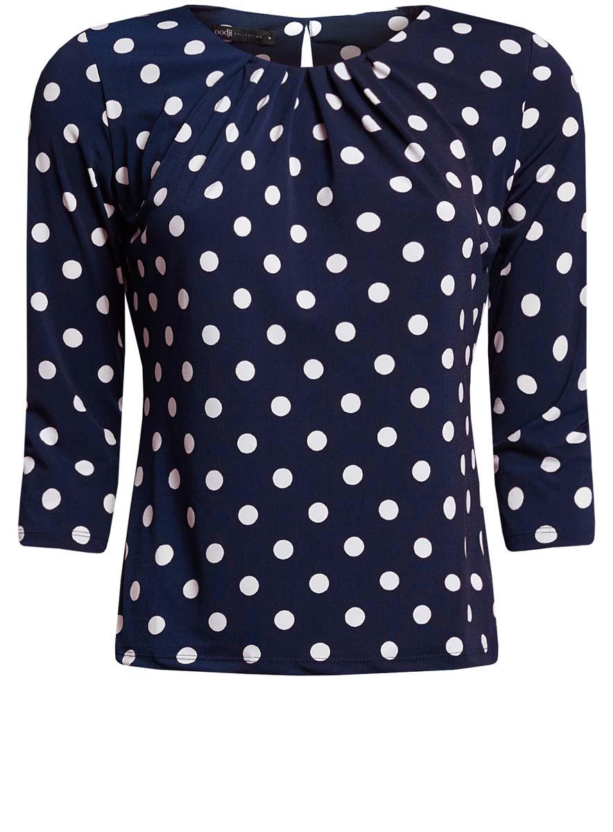 24201012-1/26256/1279DЖенская блузка oodji Collection выполнена из полиэстера с добавлением эластана. Модель с круглым вырезом горловины и рукавами 3/4 сзади застегивается на пуговицу. Оформлено изделие принтом в горох.