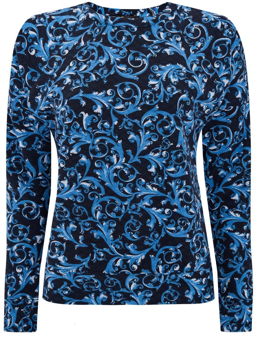Свитшот14807001-3/33537/7970EЖенский свитшот oodji Ultra выполнен из фактурной ткани. Свитшот с круглым вырезом горловины и длинными рукавами-реглан оформлен принтом. На рукавах предусмотрены манжеты.