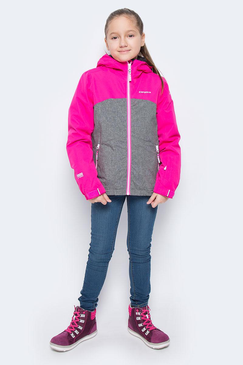 650024805IVКуртка для девочки Icepeak Haley Jr выполнена из прочного текстиля с водонепроницаемой и воздухопроницаемой мембраной Icemax 3000/3000 г/м2 /24 ч, которая защищает от ветра и влаги даже в экстремальных условиях. Модель с капюшоном и застегивается на молнию с защитой подбородка. Манжеты рукавов регулируются по ширине за счет хлястиков с липучками. Спереди модель дополнена двумя прорезными карманами на застежках-молниях, на рукаве имеется скрытый карман на молнии, с внутренней стороны расположен один накладной карман и один врезной кармана на молнии. Куртка оснащена светоотражающими элементами. Низ изделия дополнен скрытой резинкой со стопперами. Водонепроницаемая мембрана 3000 mm.