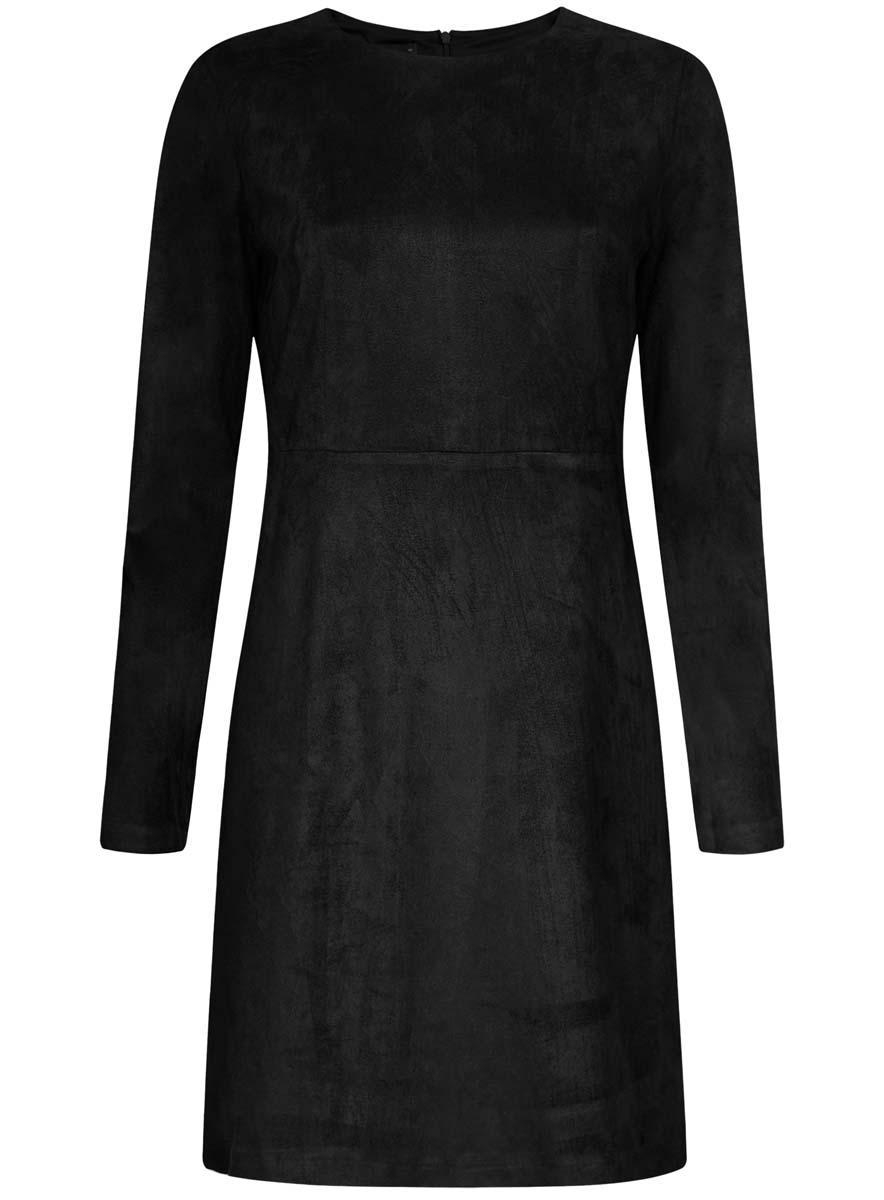Платье18L02001/45870/2900NТрикотажное платье oodji Ultra изготовлено из полиэстера с добавлением эластана. На ощупь ткань напоминает искусственную замшу. Верх платья выполнен с длинными рукавами и круглым вырезом воротничка. У модели имеется подкладка, низ платья свободного кроя. Модель застегивается на пластиковую застежку-молнию, расположенную на спинке от самого верха и до пояса.