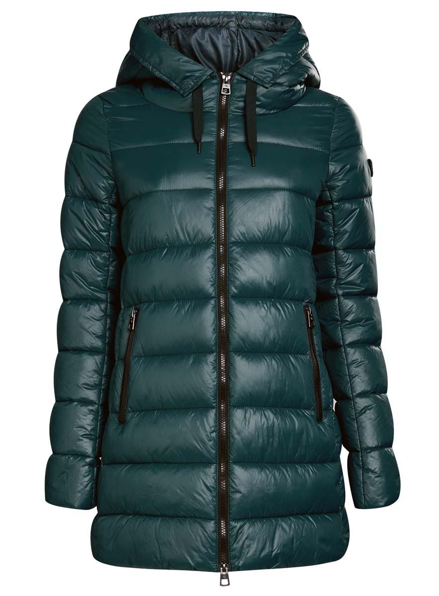 Куртка20204051-1/45911/2900NЖенская куртка oodji Collection изготовлена из высококачественного полиамида. В качестве утеплителя используется полиэстер. Модель с несъемным капюшоном застегивается на застежку-молнию. Спереди расположены два прорезных кармана с застежками-молниями, с внутренней стороны - накладной кармашек на кнопке. Манжеты рукавов присборены на тонкую резинку. Низ изделия регулируется с помощью эластичного шнурка.