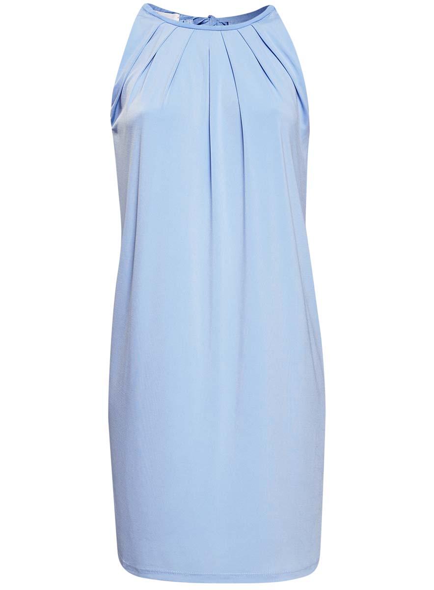 Платье24005125/42788/2900NСтильное платье oodji Collection выполнено из полиэстера с добавлением полиуретана. Модель свободного кроя без рукавов сзади завязывается на завязки.