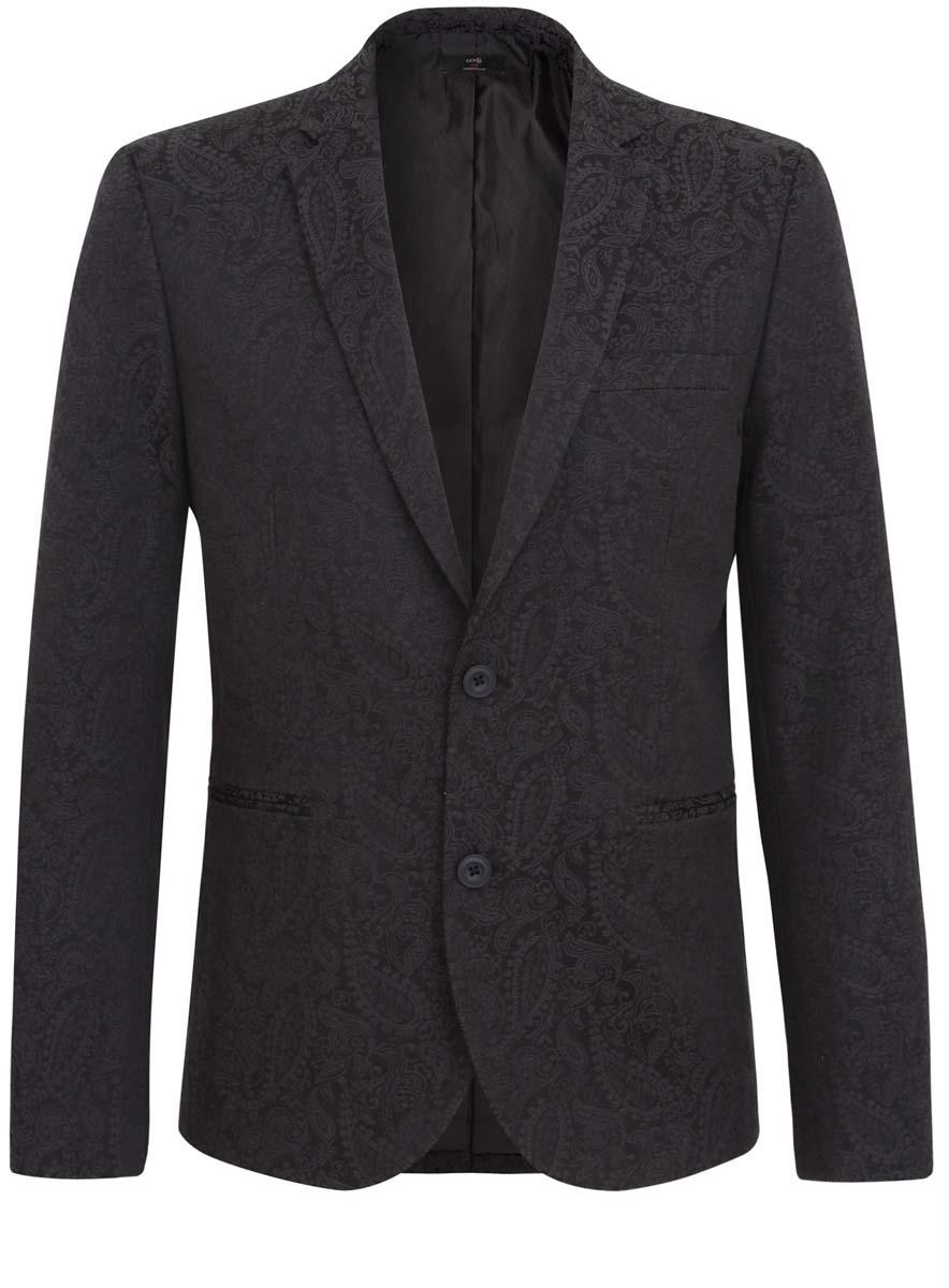 Пиджак2L420142M/39986N/2929JСтильный мужской пиджак oodji изготовлен из высококачественного материала, обеспечивающего комфорт и удобство при носке. Ткань изделия мягкая и тактильно приятная, хорошо пропускает воздух. Подкладка выполнена из полиэстера. Пиджак с длинными рукавами и отложным воротником с лацканами застегивается на две пуговицы. Модель оснащена двумя прорезными карманами. Внутри расположены два прорезных кармана, один из которых застегивается на пуговицу. На спинке предусмотрена центральная шлица. Низ рукавов декорирован пуговицами. Этот модный пиджак оформлен оригинальным вышитым узором.