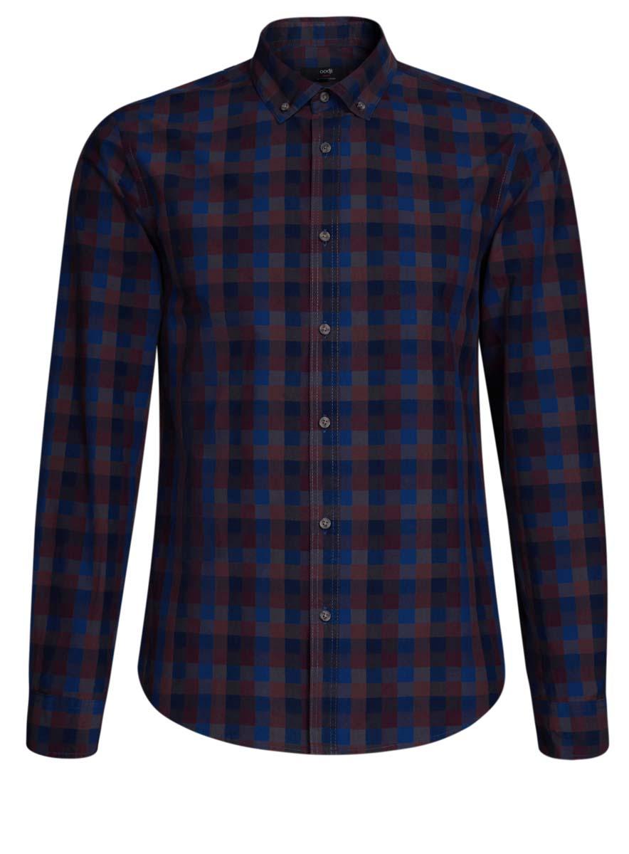 3L310132M/39511N/4979CСтильная мужская рубашка oodji выполнена из натурального хлопка. Модель с отложным воротником и длинными рукавами застегивается на пуговицы спереди. Манжеты рукавов дополнены застежками-пуговицами. Оформлена рубашка принтом в клетку.