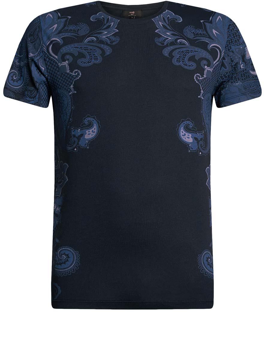 5L611322M/39333N/7925PМужская футболка oodji с короткими рукавами и круглым вырезом горловины выполнена из хлопка с добавлением вискозы. Футболка украшена принтом с изображением оригинальных цветочных узоров.