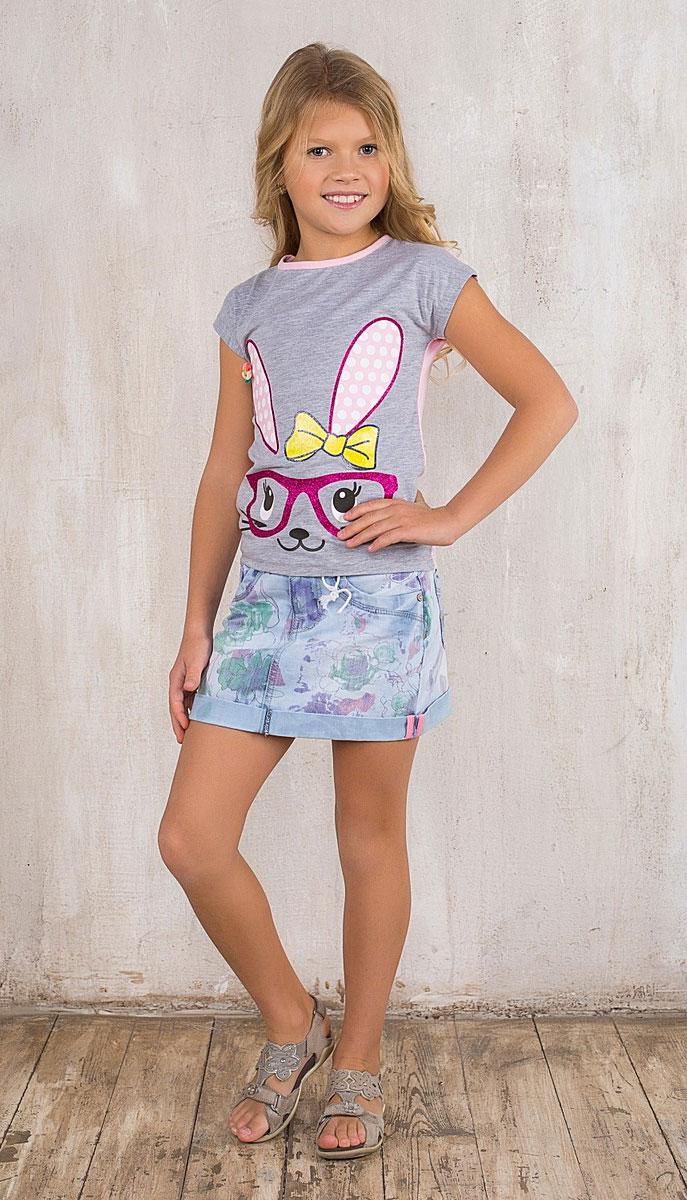 Юбка195405Джинсовая юбка для девочки Sweet Berry идеально подойдет вашей моднице и станет отличным дополнением к ее гардеробу. Изготовленная из эластичного хлопка, она мягкая и приятная на ощупь, не сковывает движения и позволяет коже дышать, не раздражает нежную кожу ребенка, обеспечивая наибольший комфорт. Модная юбка застегивается на металлический крючок в поясе и на ширинку на молнии, имеются шлевки для ремня. Спереди модель дополнена двумя втачными карманами и одним потайным кармашком, а сзади - двумя накладными карманами. Изделие оформлено цветочным принтом и декоративным отворотом. В такой модной юбке ваша принцесса будет чувствовать себя комфортно, уютно и всегда будет в центре внимания!