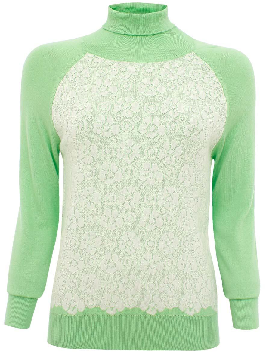 Свитер74412554/35058/306AOМодный женский свитер oodji Collection, изготовленный из полиамида и вискозы с добавлением хлопка, мягкий и приятный на ощупь, не сковывает движений и обеспечивает комфорт. Модель с воротником-гольф и длинными рукавами-реглан оформлена спереди оригинальным вязаным узором. Горловина, манжеты рукавов и низ изделия связаны резинкой.