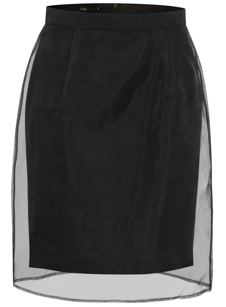 Юбка21611111/18676/2900NЮбка oodji выполнена из качественного комбинированного материала. Модель-карандаш застегивается сзади по спинке на застежку-молнию. Верх юбки оформлен прозрачной органзой.