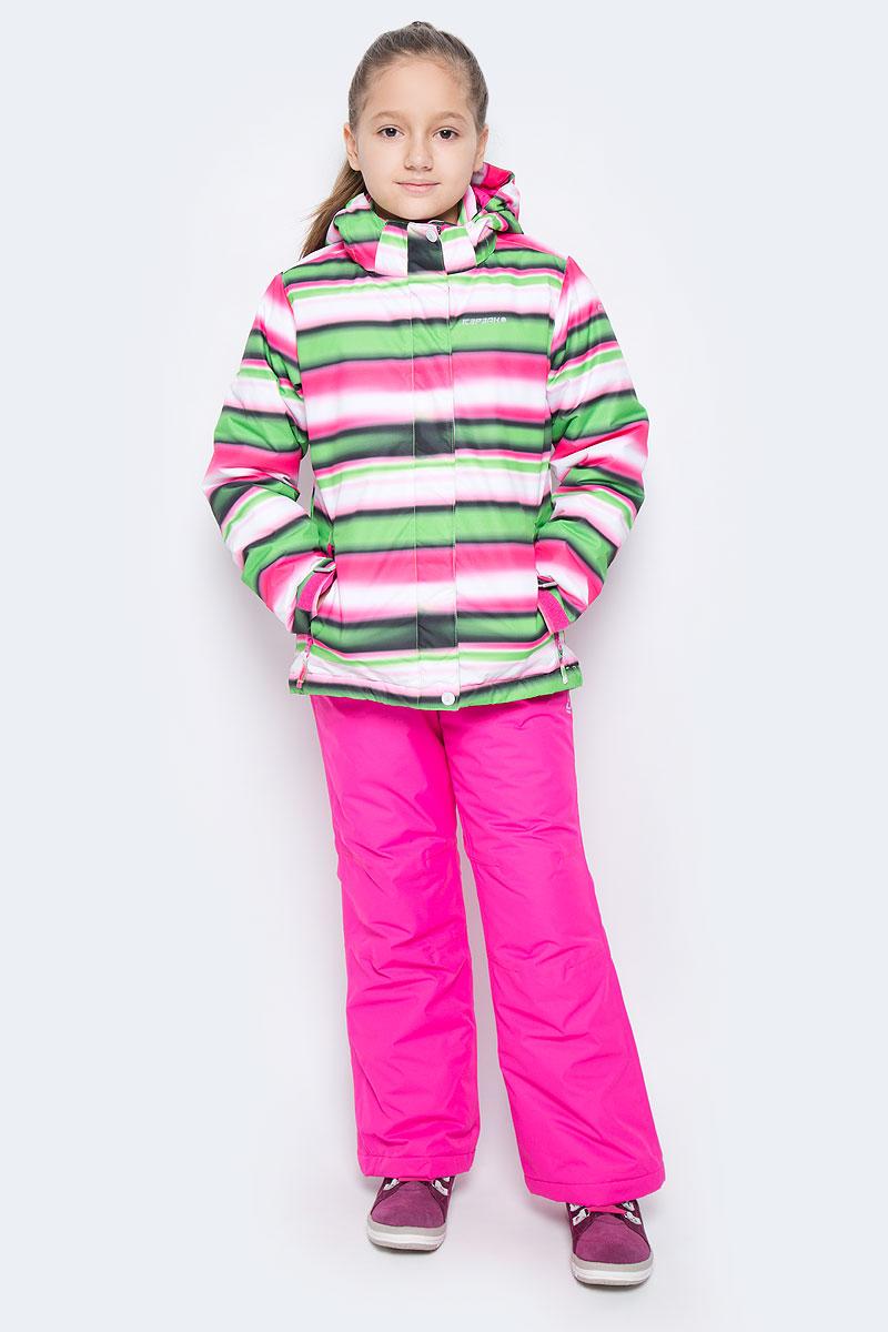 Комплект верхней одежды652130510IVКомплект одежды Icepeak состоит из куртки и утепленных брюк. Куртка изготовлена из 100% полиэстера. В качестве подкладки и утеплителя также используется 100% полиэстер. Ткань изготовлена с применением технологии ICEMAX, которая обеспечивает водостойкость 1200 м. Куртка со съемным капюшоном и воротником-стойкой застегивается на пластиковую застежку-молнию с защитой для подбородка и дополнительно имеет ветрозащитную планку на липучках и кнопках. Внутренняя часть капюшона дополнена эластичной резинкой. Капюшон пристегивается к изделию за счет кнопок. На рукавах имеются хлястики на липучках. Низ изделия дополнен внутренней ветрозащитной планкой на кнопках. Спереди расположены два прорезных кармана на застежках-молниях, а с внутренней стороны - накладной карман-сетка. Модель оформлена принтом в полоску. На куртке предусмотрены светоотражающие нашивки и термоаппликации с фирменным логотипом. Брюки изготовлены из 100% полиэстера и дополнены подкладкой и утеплителем из полиэстера. ...