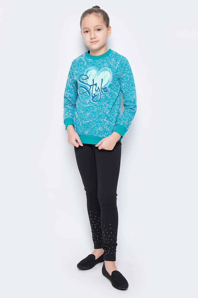 СвитшотWJK26031S-87Стильный свитшот для девочки выполнен из эластичного хлопка. Модель с круглым вырезом горловины и длинными рукавами-реглан оформлен оригинальным принтом. Манжеты рукавов, низ изделия и горловина дополнены трикотажными резинками.