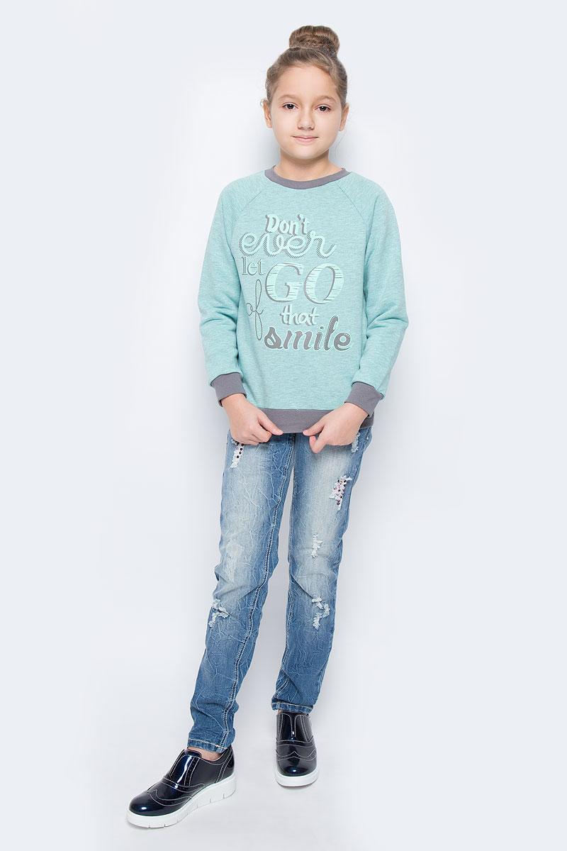 СвитшотWJK26012S-14Стильный свитшот для девочки выполнен из хлопка и полиэстера. Модель с круглым вырезом горловины и длинными рукавами-реглан оформлена спереди надписью. Манжеты рукавов, низ изделия и горловина дополнены трикотажными резинками.