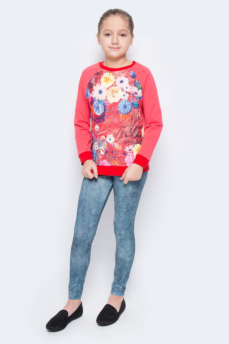 WJK26054S-8Стильный свитшот для девочки выполнен из хлопка и полиэстера. Модель с круглым вырезом горловины и длинными рукавами-реглан оформлена ярким цветочным принтом. Манжеты рукавов, низ изделия и горловина дополнены трикотажными резинками.