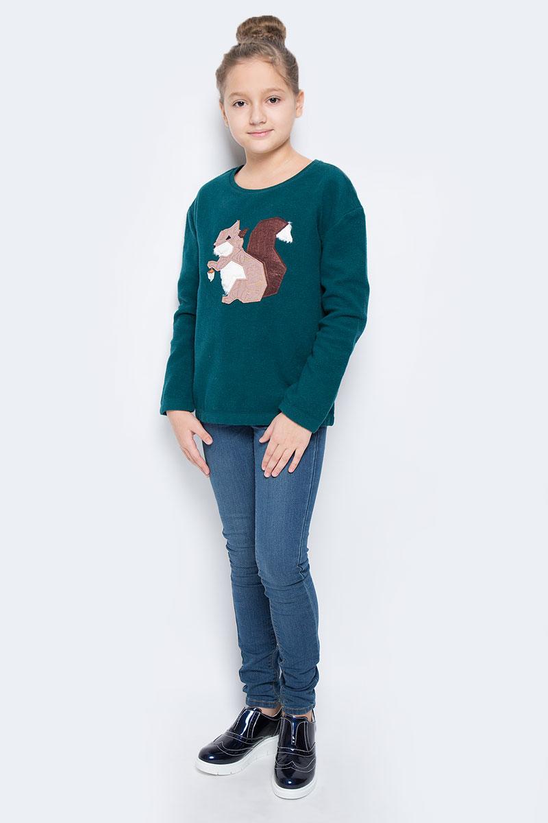 St-613/429-6414Модный свитшот для девочки выполнен хлопка с добавлением полиэстера. Модель с круглым вырезом горловины и длинными рукавами оформлена оригинальной аппликацией в виде белочки. Горловина дополнена трикотажной резинкой.