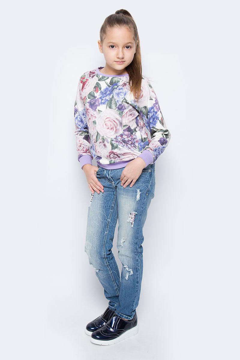 СвитшотWJK26057S-77Стильный свитшот для девочки выполнен из хлопка и полиэстера. Модель с круглым вырезом горловины и длинными рукавами-реглан оформлена цветочным принтом. Манжеты рукавов, низ изделия и горловина дополнены трикотажными резинками.