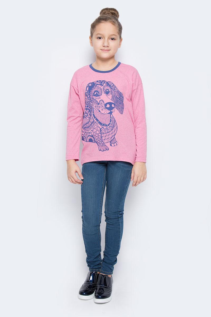 Футболка с длинным рукавомWJF260133-5Стильный лонгслив для девочки выполнен из эластичного хлопка. Модель с круглым вырезом горловины и длинными рукавами. Лонгслив оформлен оригинальным изображением собаки, оформленной стразами. Горловина дополнена контрастной эластичной бейкой.