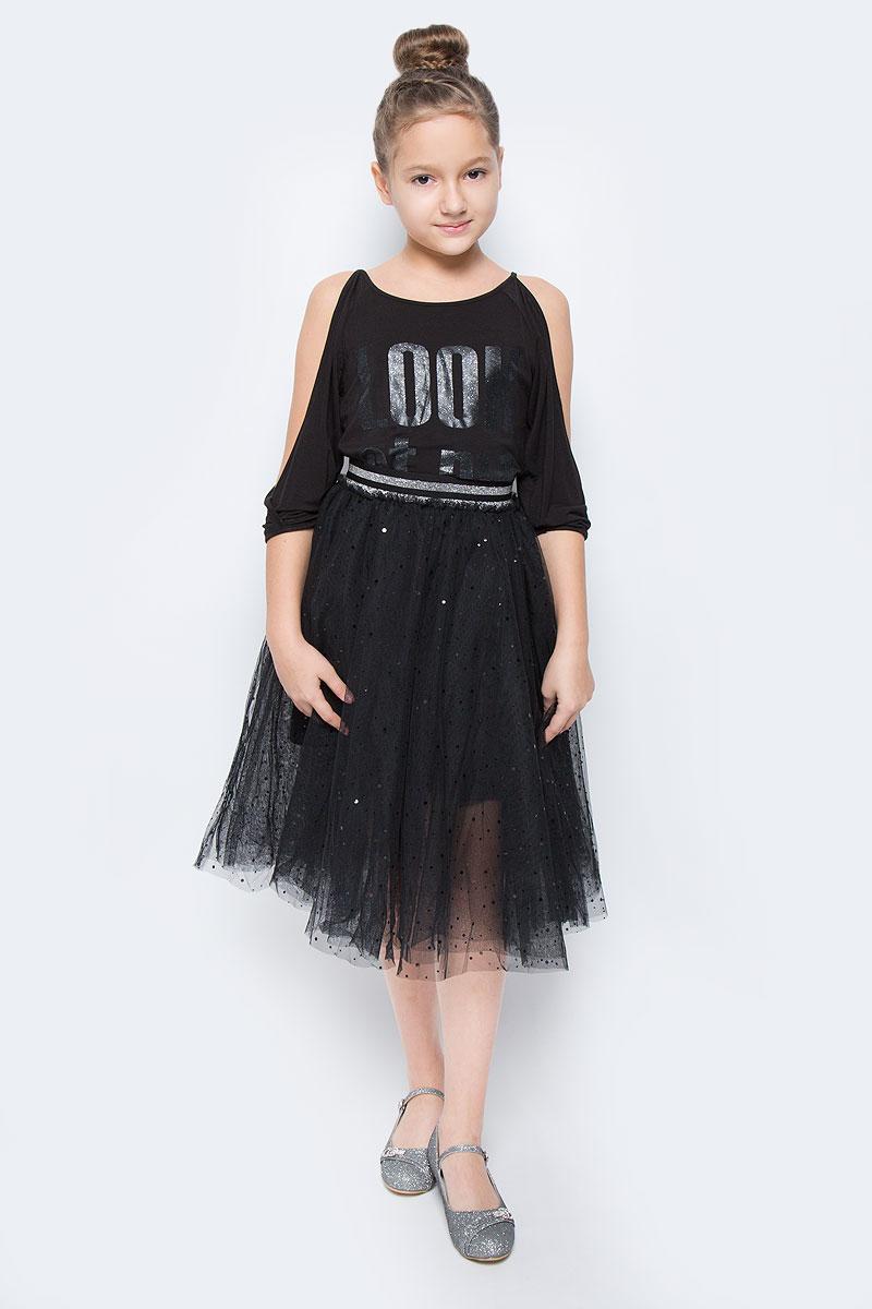 Юбка464011Пышная юбка-пачка для девочки Scool выполнена из легкого сетчатого материала - высококачественного полиэстера. Хлопковая подкладка обеспечивает максимальное удобство. Модель-миди имеет эластичный пояс на талии. Украшена модель россыпью сверкающих пайеток.