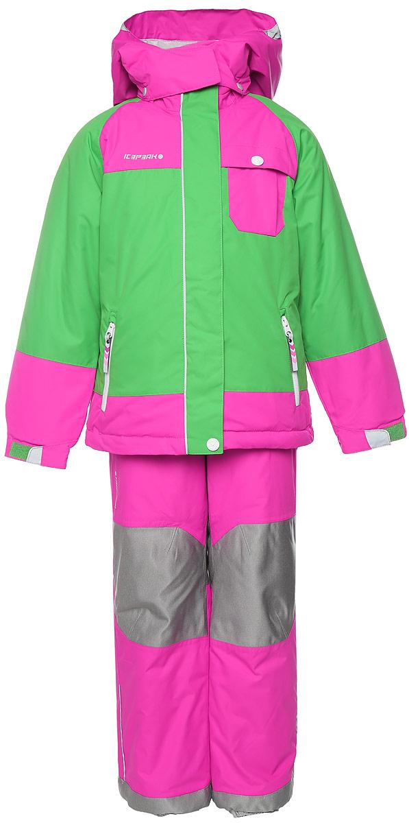 Комплект верхней одежды652104517IVКомплект, изготовленный из прочного текстиля с водонепроницаемой и воздухопроницаемой мембраной Icemax 10000/2000 г/м2 /24 ч, которая защищает от ветра и влаги даже в экстремальных условиях. Полукомбинезон застегивается на молнию и пуговицу. Подкладка полукомбинезона выполнена из гладкой ткани. Изделие дополнено эластичными наплечными лямками, регулируемыми по длине. На талии по бокам предусмотрена широкая эластичная резинка. Снизу брючин предусмотрены муфты с прорезиненными полосками, препятствующие попаданию снега в обувь и не дающие брючинам задираться вверх. Изделие дополнено износостойкими вставками. Куртка с капюшоном и воротником стойкой застегивается на молнию с защитой подбородка и дополнена двойным ветрозащитным клапаном. Капюшон пристегивается при помощи кнопок. Манжеты рукавов дополнены эластичными резинками и регулируются по ширине за счет хлястиков с липучками. Спереди модель дополнена двумя прорезными карманами на застежках-молниях, на груди одним накладным...