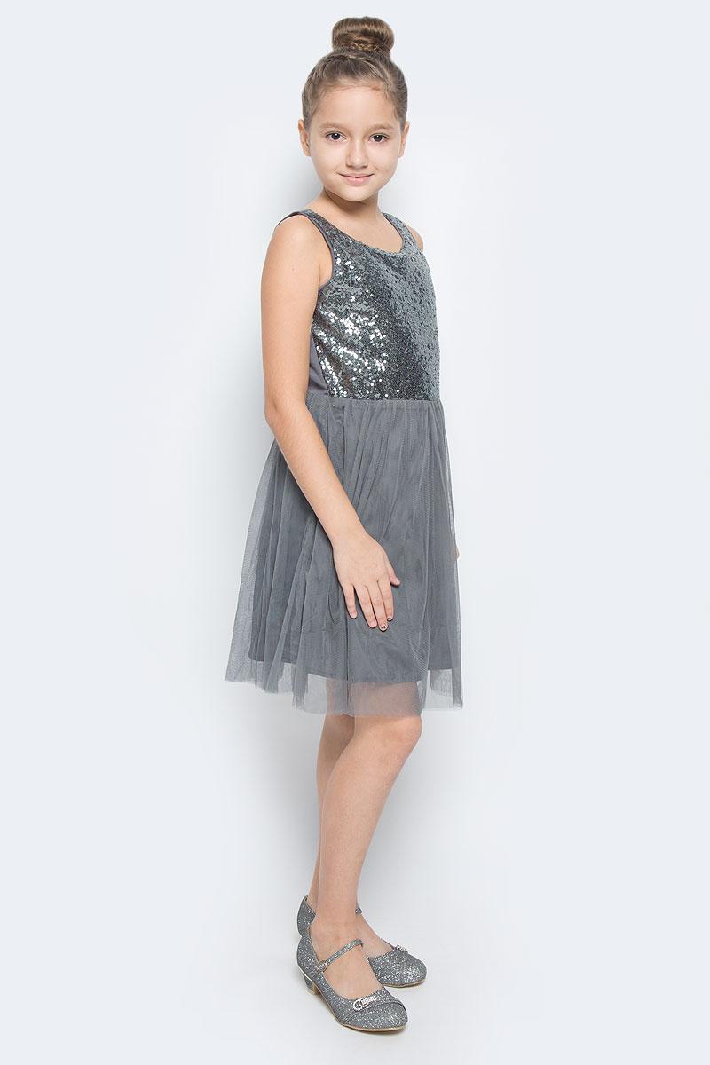Платье454004Платье для девочки Scool выполнено из высококачественного комбинированного материала и дополнено подкладкой из натурального хлопка. Модель с круглым вырезом горловины спереди расшита пайетками. Юбка изделия дополнена двойным сетчатым материалом.