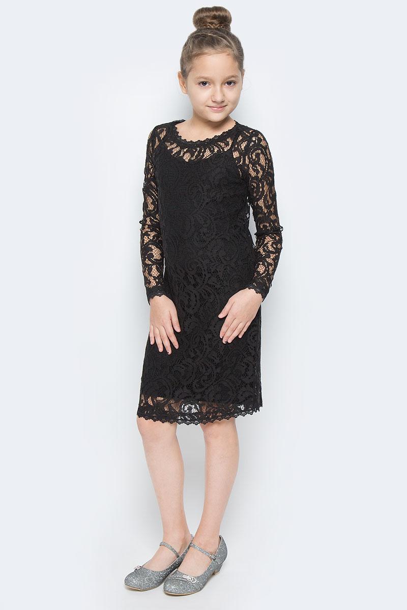 464018Платье для девочки Scool выполнено из гипюра. Модель с круглым вырезом горловины и длинными рукавами. Под платье предусмотрена непрозрачная сорочка на бретельках, которые можно регулировать по длине.