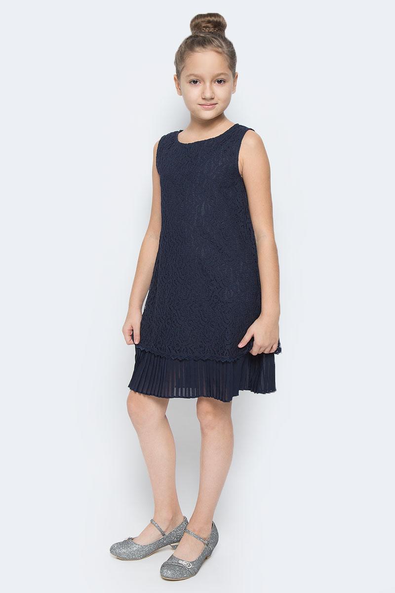 Платье464023Платье для девочки Scool выполнено из гипюра и дополнено подкладкой из натурального хлопка. Модель с круглым вырезом горловины застегивается на потайную застежку-молнию в среднем шве спинки. Низ модели дополнен плиссированным полупрозрачным материалом.
