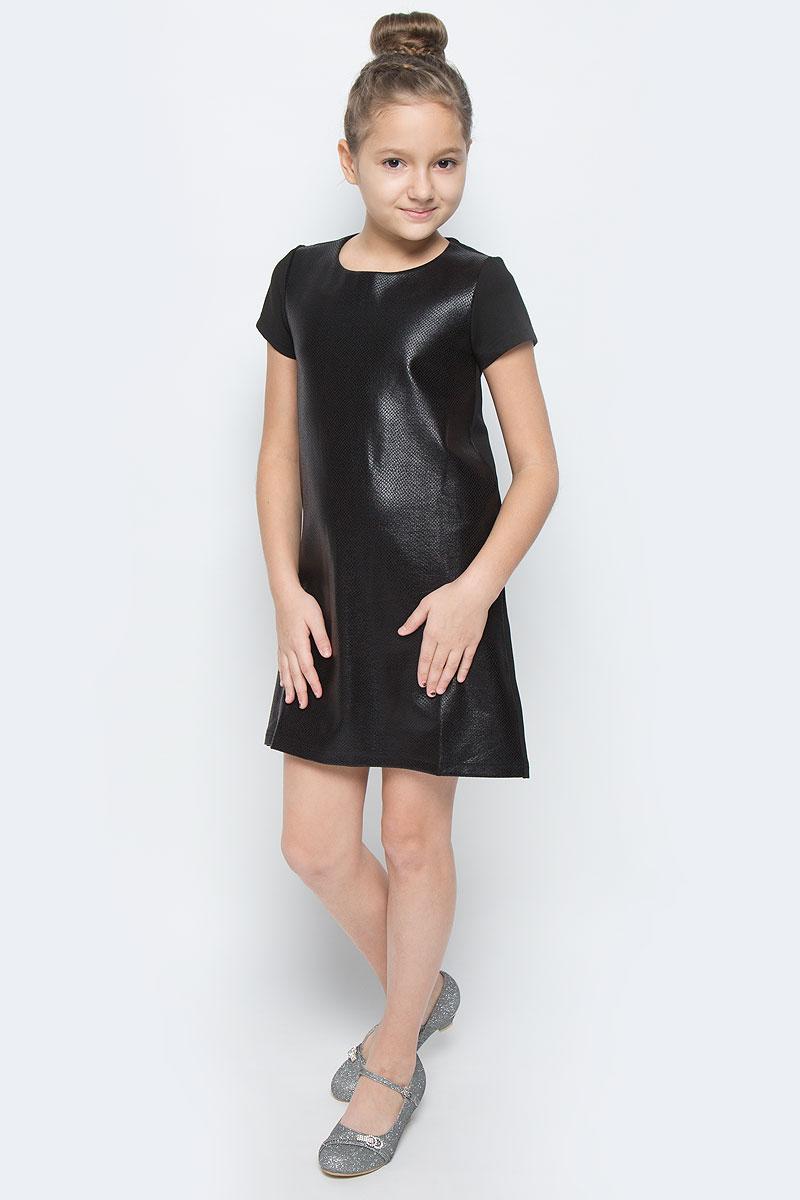 464014Платье для девочки Scool выполнено из высококачественного комбинированного материала. Модель прямого кроя имеет круглый вырез горловины и короткие рукава. Перед модели оформлен фактурной отделкой под кожу рептилии.
