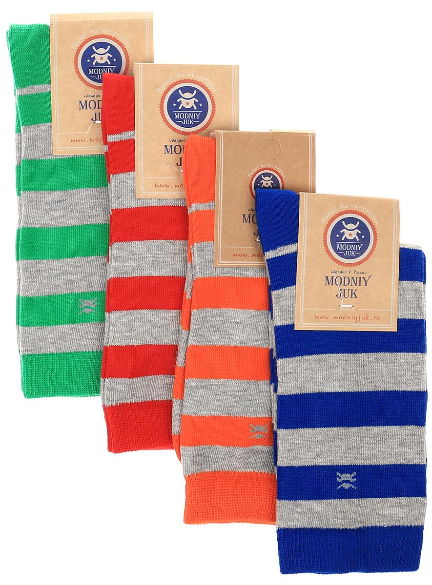 НоскиSocks 2/Bands_&_Logo/Носки для мальчика Modniy Juk, изготовленные из высококачественного материала, идеально подойдут маленькому непоседе. Мягкая и широкая резинка плотно облегает ножку, не сдавливая ее, благодаря чему ребенку будет комфортно и удобно. Усиленные пятка и мысок обеспечивают надежность и долговечность. Носочки оформлены принтом в полоску. В комплекте 4 пары носков.