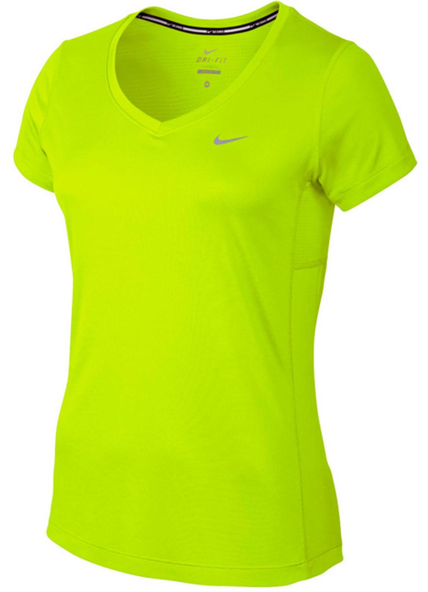 Футболка686917-702Футболка от Nike выполнена из мягкого трикотажа. Модель прямого кроя с V-образным вырезом, технология Dri-fit. Вставки с перфорацией в подмышечной области, логотип бренда спереди.