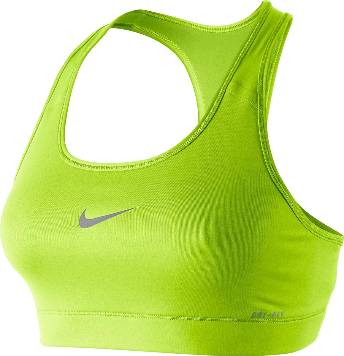Топ-бра375833-702Короткий спортивный топ ярко-оранжевого цвета от Nike выполнен из двух слоев эластичного материала, который эффективно отводит излишнюю влагу от кожи и сохраняет ее сухой во время тренировок. Модель плотно прилегает к телу. Детали: круглый вырез, спинка-борцовка, принт с изображением логотипа бренда на фронтальной стороне, широкая эластичная резинка в нижней части.