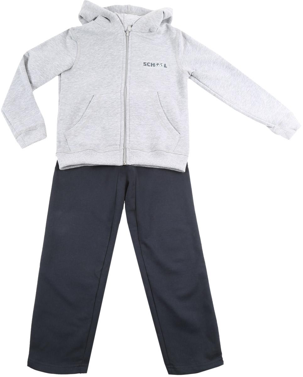 6452Спортивный костюм для мальчика Pastilla состоит из толстовки и брюк. Костюм изготовлен из эластичного хлопка. Изнаночная сторона изделия с небольшими петельками. Толстовка с капюшоном и длинными рукавами застегивается на пластиковую молнию. Манжеты и низ модели выполнены из трикотажной резинки. Толстовка дополнена спереди двумя накладными карманами. На груди модель оформлена термоаппликацией в виде надписи. Спортивные брюки прямого кроя в поясе имеют широкую эластичную резинку, регулируемую шнурком. Изделие дополнено лампасами.