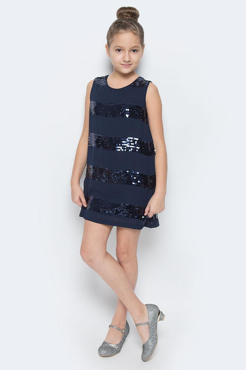 Платье454003Платье для девочки Scool выполнено из полиэстера и дополнено подкладкой из натурального хлопка. Модель прямого кроя имеет круглый вырез горловины и застегивается сзади на навесную пуговичку. Изделие оформлено пайетками.