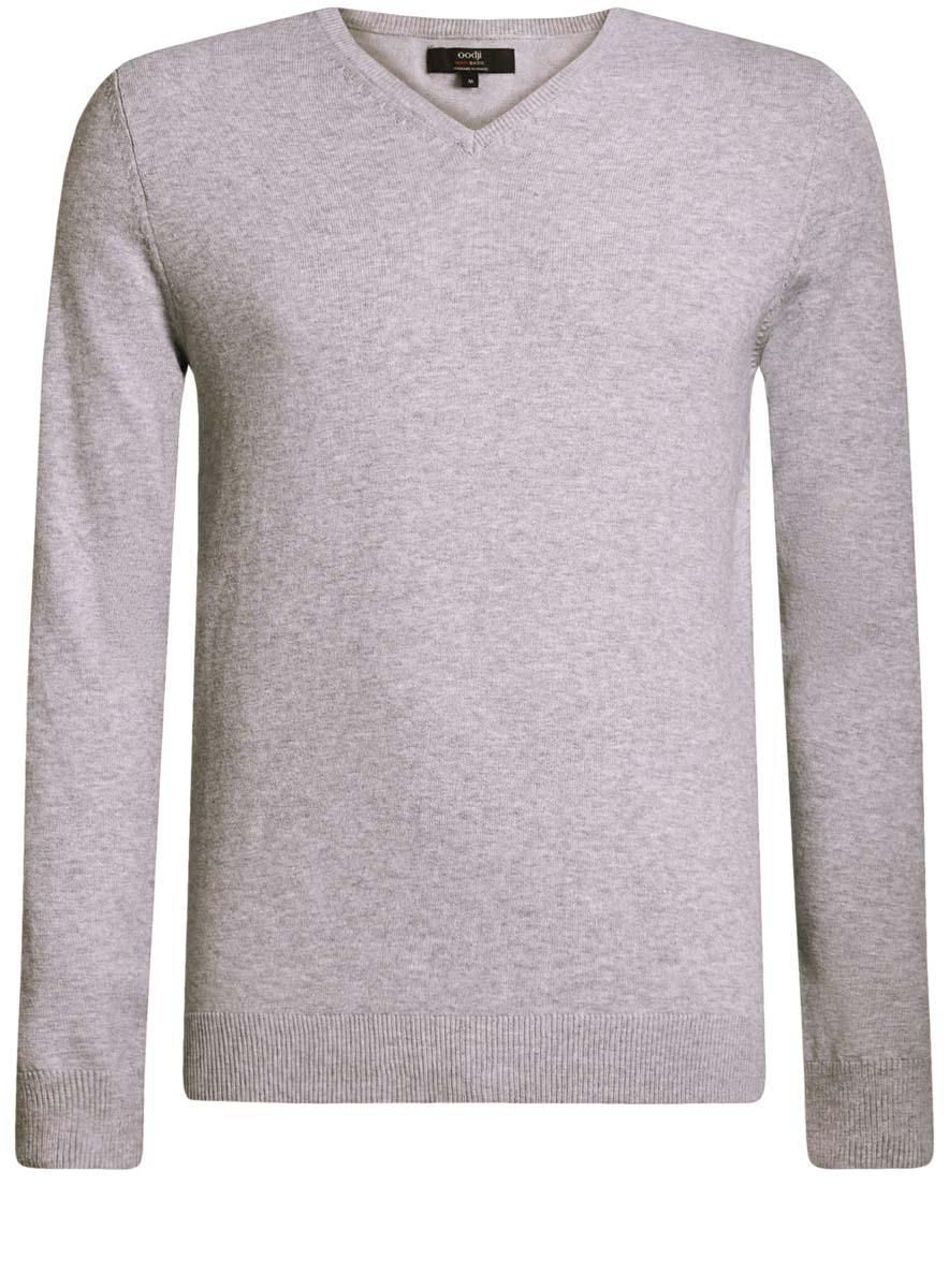 4B212004M/34390N/2300MМужской пуловер oodji Basic изготовлен из мягкого эластичного материала. Модель имеет V-образный вырез горловины и длинные рукава. Вырез горловины, манжеты и низ изделия связаны резинкой.