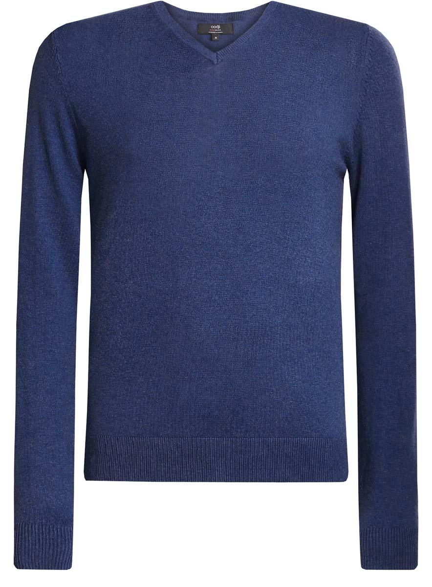 Пуловер4B212004M/34390N/2300MМужской пуловер oodji Basic изготовлен из мягкого эластичного материала. Модель имеет V-образный вырез горловины и длинные рукава. Вырез горловины, манжеты и низ изделия связаны резинкой.