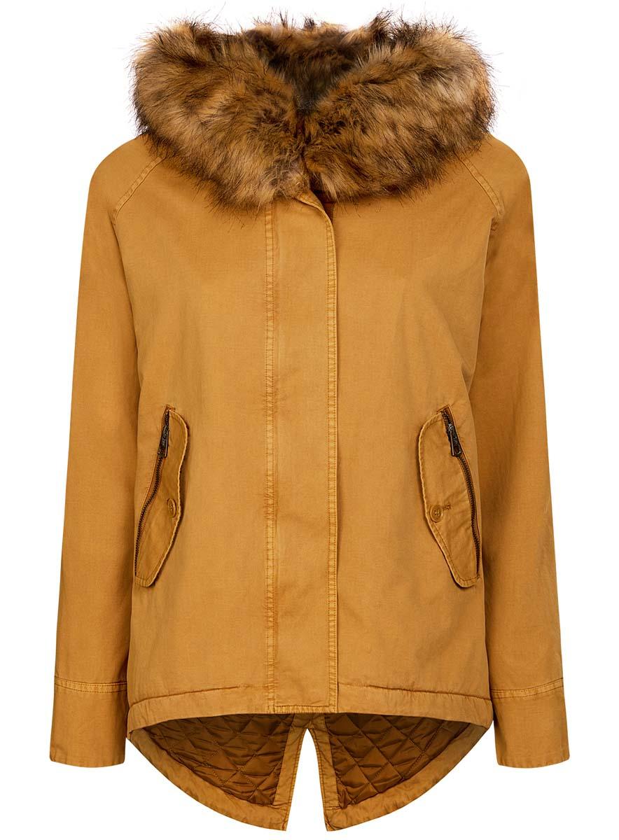 Куртка11D03002-1/46027/5700NЖенская куртка oodji Ultra выполнена из натурального хлопка. В качестве подкладки и утеплителя используется 100% полиэстер. Модель с несъемным капюшоном и длинными рукавами-реглан застегивается на застежку-молнию и имеет ветрозащитную планку на кнопках. Край капюшона оформлен искусственным мехом. Низ изделия дополнен шнурком-кулиской. Спереди расположено два прорезных кармана на застежках молниях и два прорезных кармана с клапанами на пуговицах. Куртка оформлена оригинальной нашивкой, расположенной на левом рукаве.