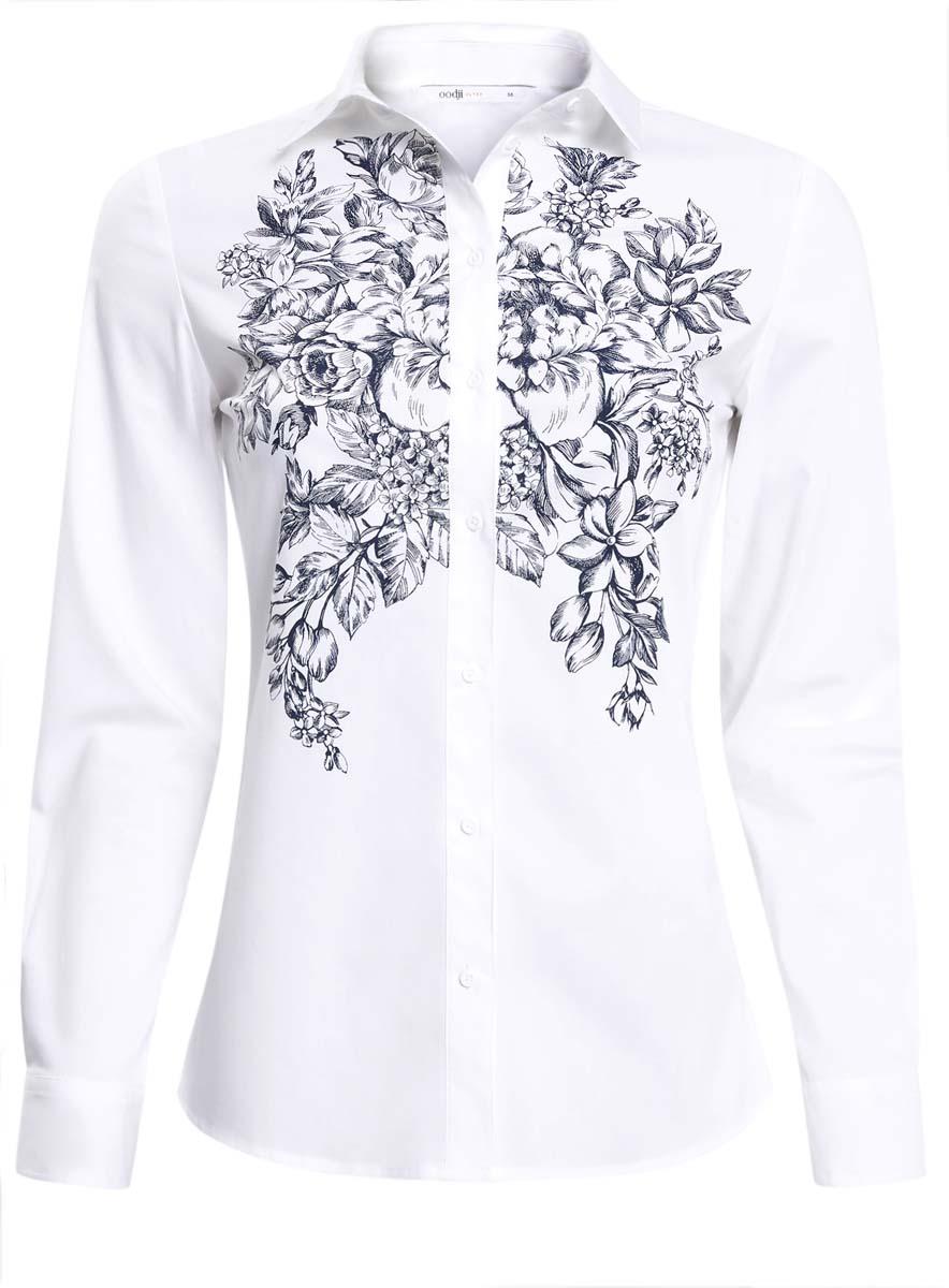 11406015/18693/1079PЖенская рубашка oodji Ultra выполнена из хлопка с добавлением полиэстера и эластана. Рубашка с длинными рукавами и отложным воротником застегивается на пуговицы спереди. Манжеты рукавов также застегиваются на пуговицы. Рубашка оформлена крупным цветочным принтом спереди.