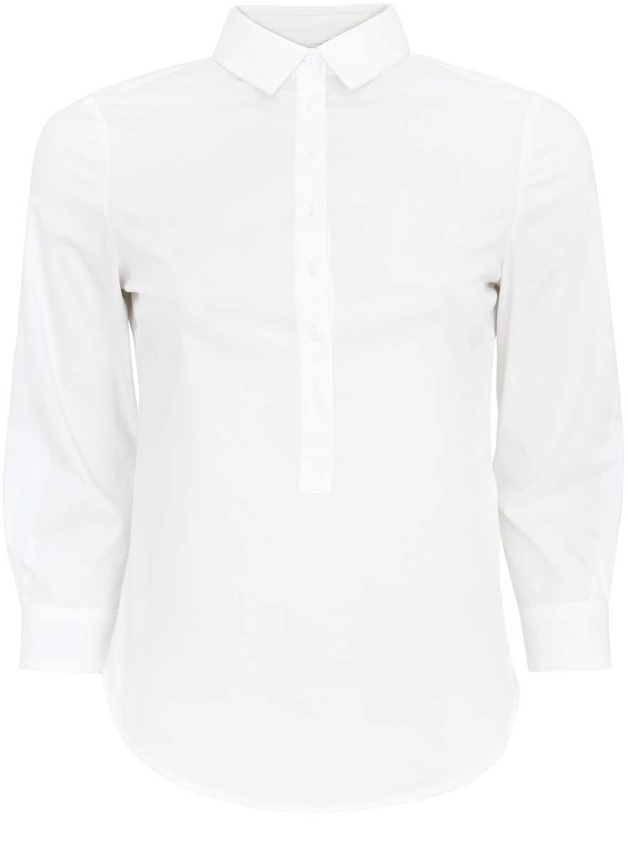 11406016-1/42468/1000NЖенская блузка oodji Ultra выполнена из хлопка с добавлением полиуретана. Модель приталенного фасона с отложным воротником и рукавами 3/4 застегивается на пуговицы до середины блузки. Рукава, дополненные манжетами с пуговицами, подворачиваются и фиксируются с помощью пуговицы.