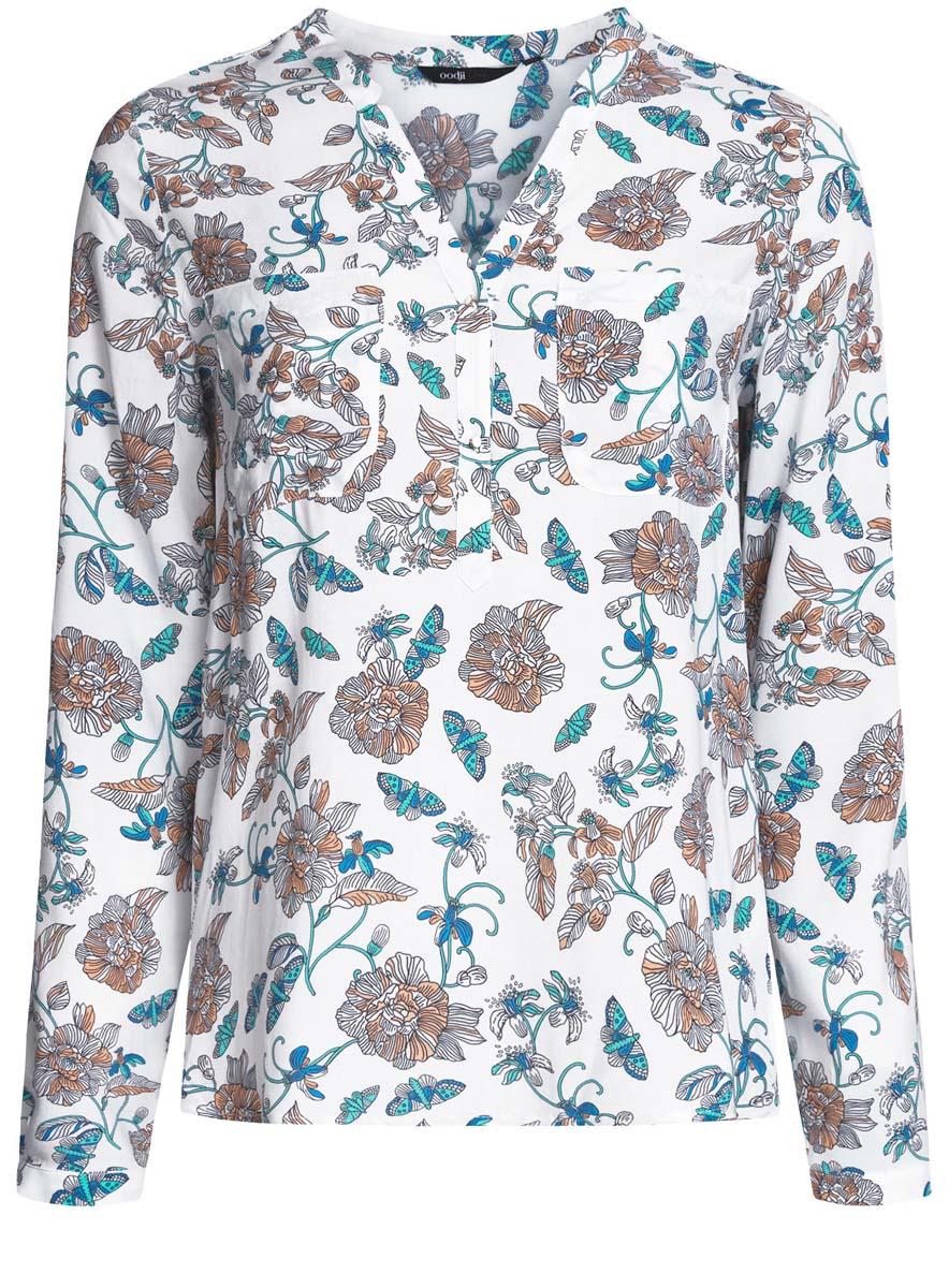 Блузка11411049-1/24681/7912FЖенская блузка oodji Ultra имеет рукава 3/4 свободный крой и V-образный вырез воротника, который застегивается на две пуговицы спереди, а так же два кармана на груди.
