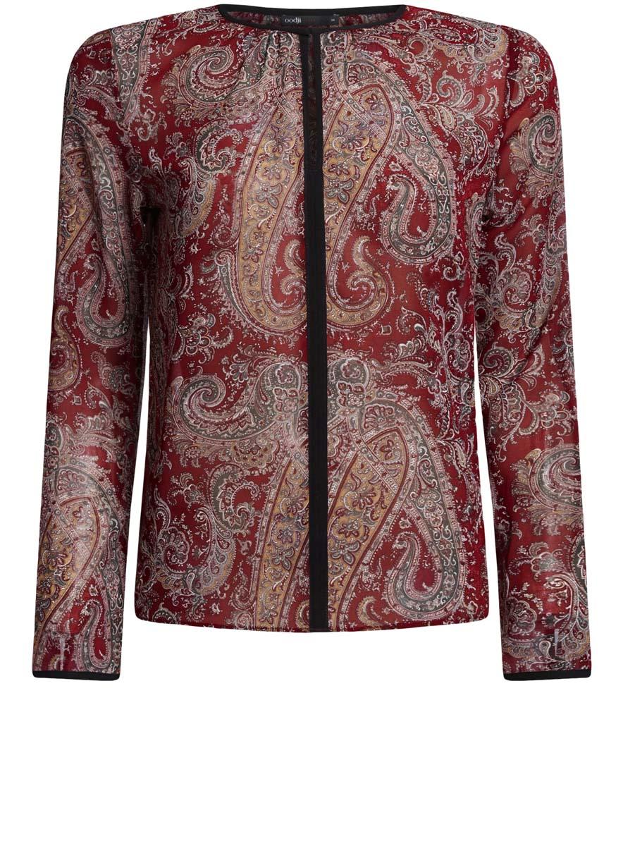 Блузка11411059-2/38375/2029AЖенская блузка oodji Ultra исполнена из воздушной ткани. Имеет свободный крой, круглый воротник с вырезом-капелькой, который застегивается на крючок, длинные рукава.