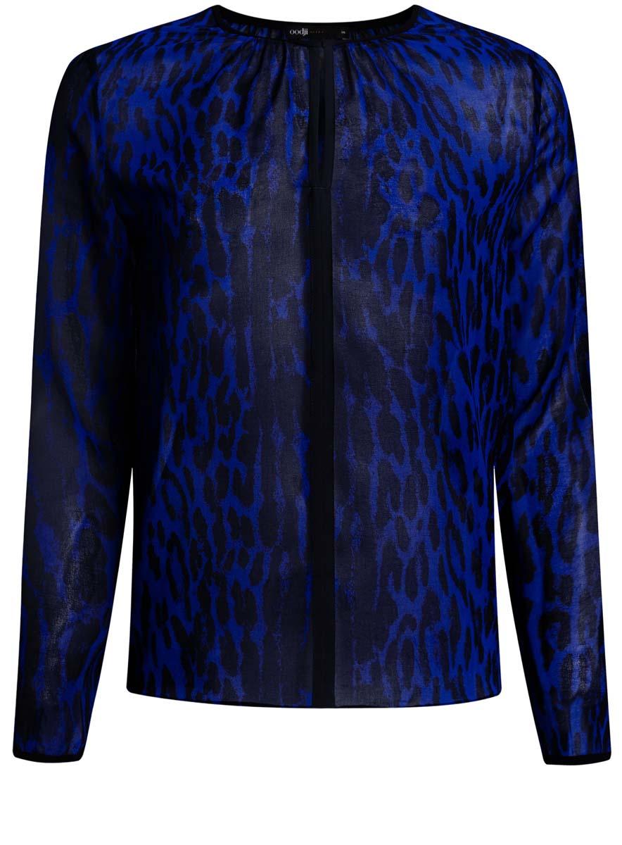 11411059-2/38375/2029AЖенская блузка oodji Ultra исполнена из воздушной ткани. Имеет свободный крой, круглый воротник с вырезом-капелькой, который застегивается на крючок, длинные рукава.