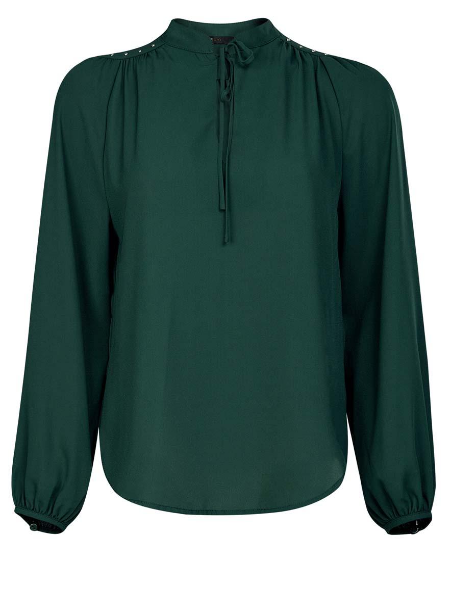 11411126/45873/4900NЖенская блузка oodji Ultra имеет свободный крой, воротник-стойку оформленный завязками и вырезом-капелькой, рукава-баллоны. Изделие декорировано металлическими кнопками по плечам. Блузка имеет скругленный низ, удлинена сзади.