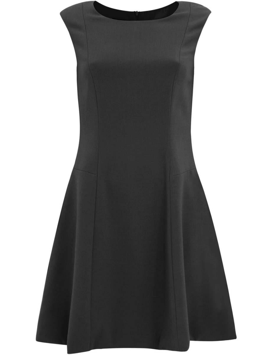 Платье11907004-1/42793/2900NПлатье oodji Ultra изготовлено из полиэстера с добавлением вискозы и эластана. Приталенная модель с круглым вырезом и без рукавов застегивается на глубокую молнию, расположенную на спинке. Подол платья слегка расклешен к низу. У модели имеется подкладка.