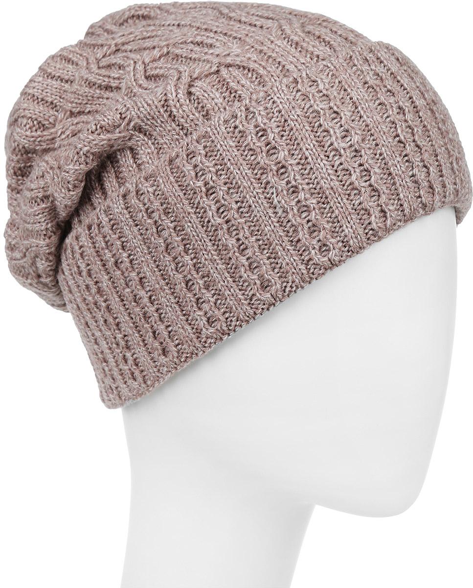 ШапкаIP900181Вязаная женская шапка Vittorio Richi выполнена из шерсти с добавлением акрила. Модель с отворотом оформлена вязаным узором и украшена небольшой металлической пластиной в виде сердца. Макушка шапки фиксируется на затылке. Уважаемые клиенты! Размер, доступный для заказа, является обхватом головы.