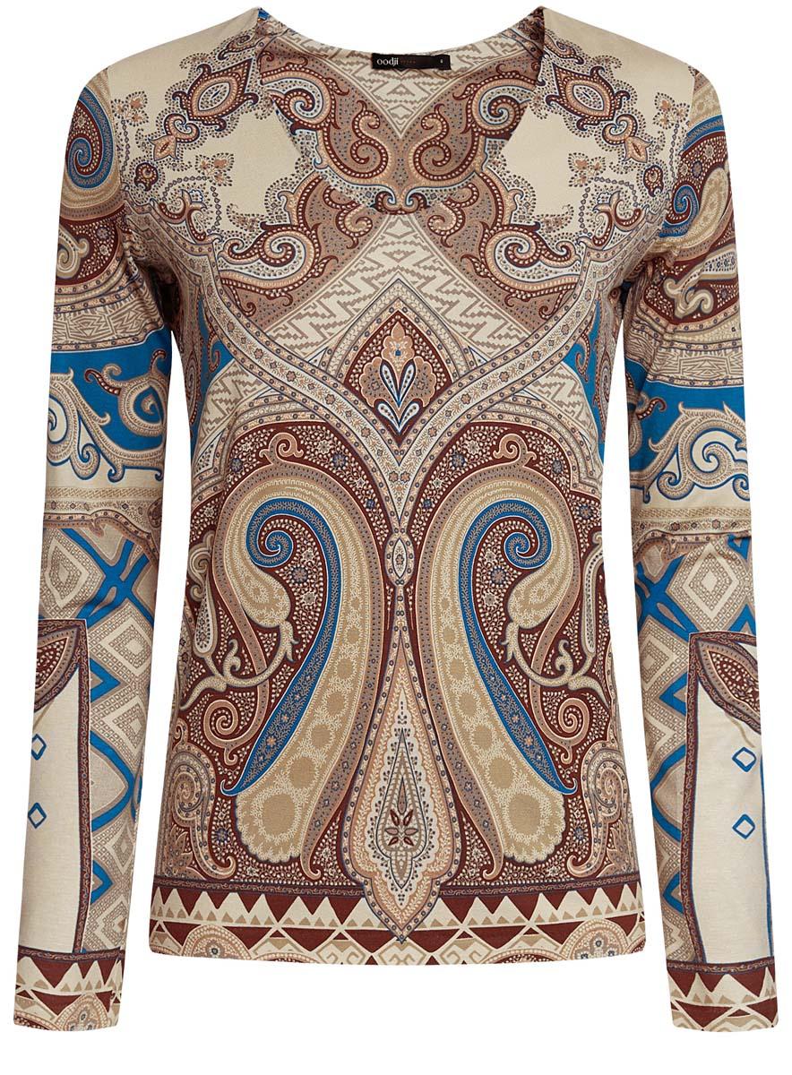 Блузка14201014/14675/3375EЖенская блузка oodji Ultra имеет V-образный вырез воротника и длинные рукава. Исполнена из мягкой облегающей ткани.