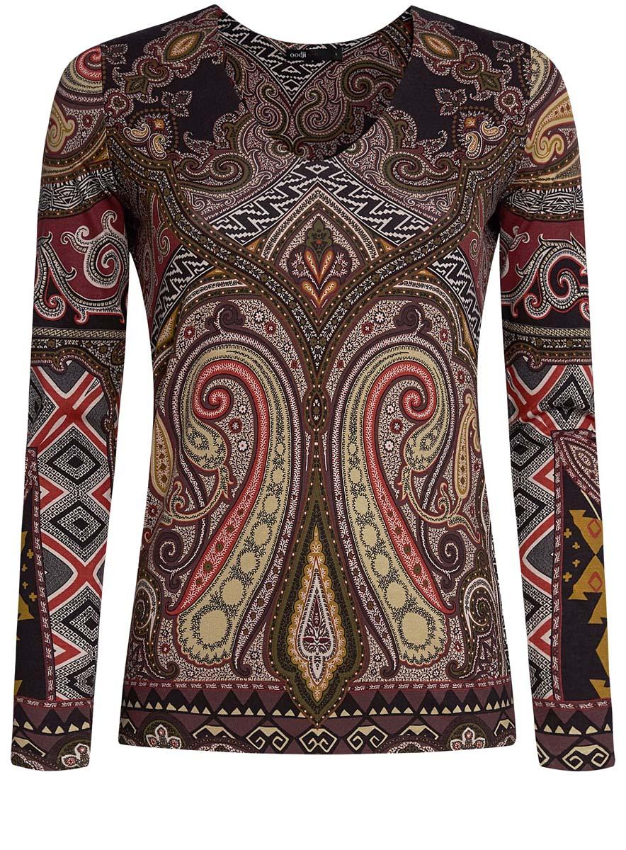 14201014/14675/3375EЖенская блузка oodji Ultra имеет V-образный вырез воротника и длинные рукава. Исполнена из мягкой облегающей ткани.