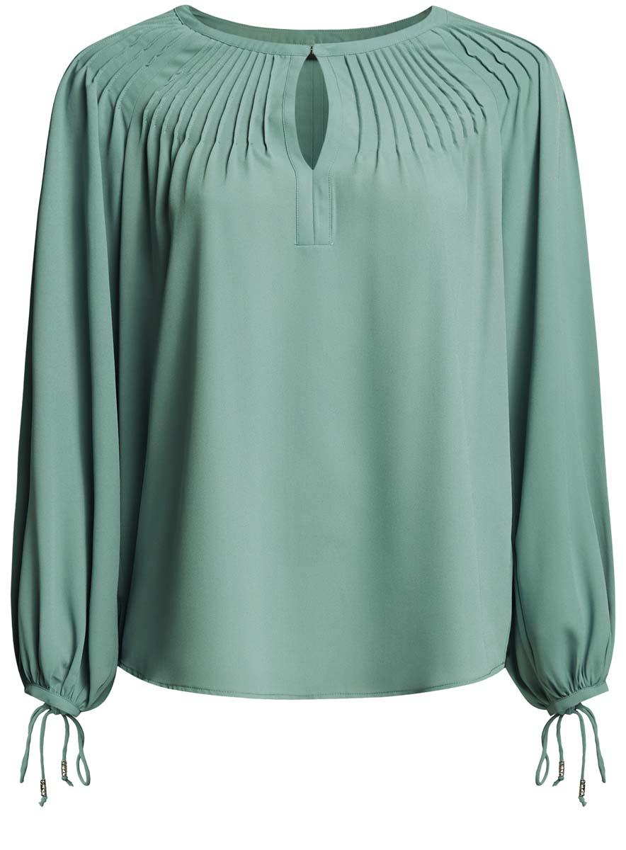 21414003/42543/1200NЖенская блузка oodji Ultra имеет свободный крой, круглый вырез воротника, который застегивается на пуговку и оформлен вырезом-капелькой, рукава-баллоны на завязках.