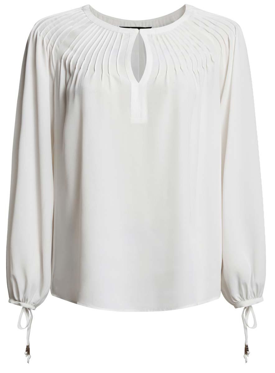Блузка21414003/42543/1200NЖенская блузка oodji Ultra имеет свободный крой, круглый вырез воротника, который застегивается на пуговку и оформлен вырезом-капелькой, рукава-баллоны на завязках.