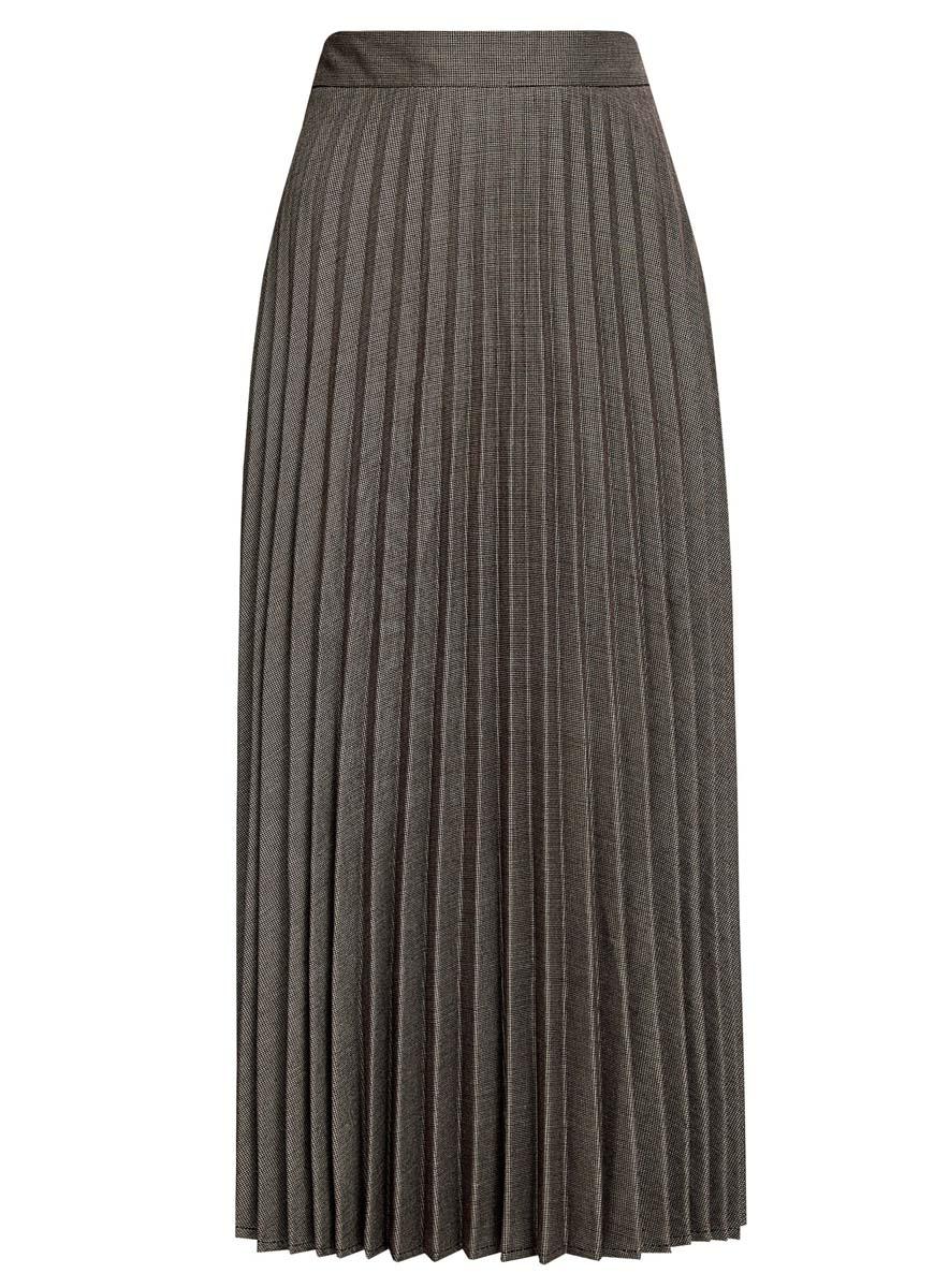 21606020/45879/2975GПлиссированная юбка oodji Collection выполнена из полиэстера с добавлением вискозы и полиуретана. Модель длины миди сбоку дополнена потайной застежкой-молнией и оформлена мелким принтом.