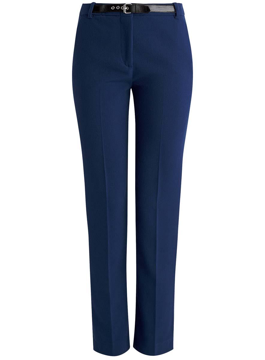 Брюки21707012/43138/7900NСтильные женские брюки oodji Collection выполнены из качественного комбинированного материала. Модель средней посадки застегивается на ширинку с застежкой-молнией, пуговицу и металлический крючок, имеются шлевки для ремня. Спереди брюки оформлены двумя втачными карманами, а сзади дополнены имитацией прорезных карманов. Изделие оформлено в поясе имитацией ремня из искусственной кожи.