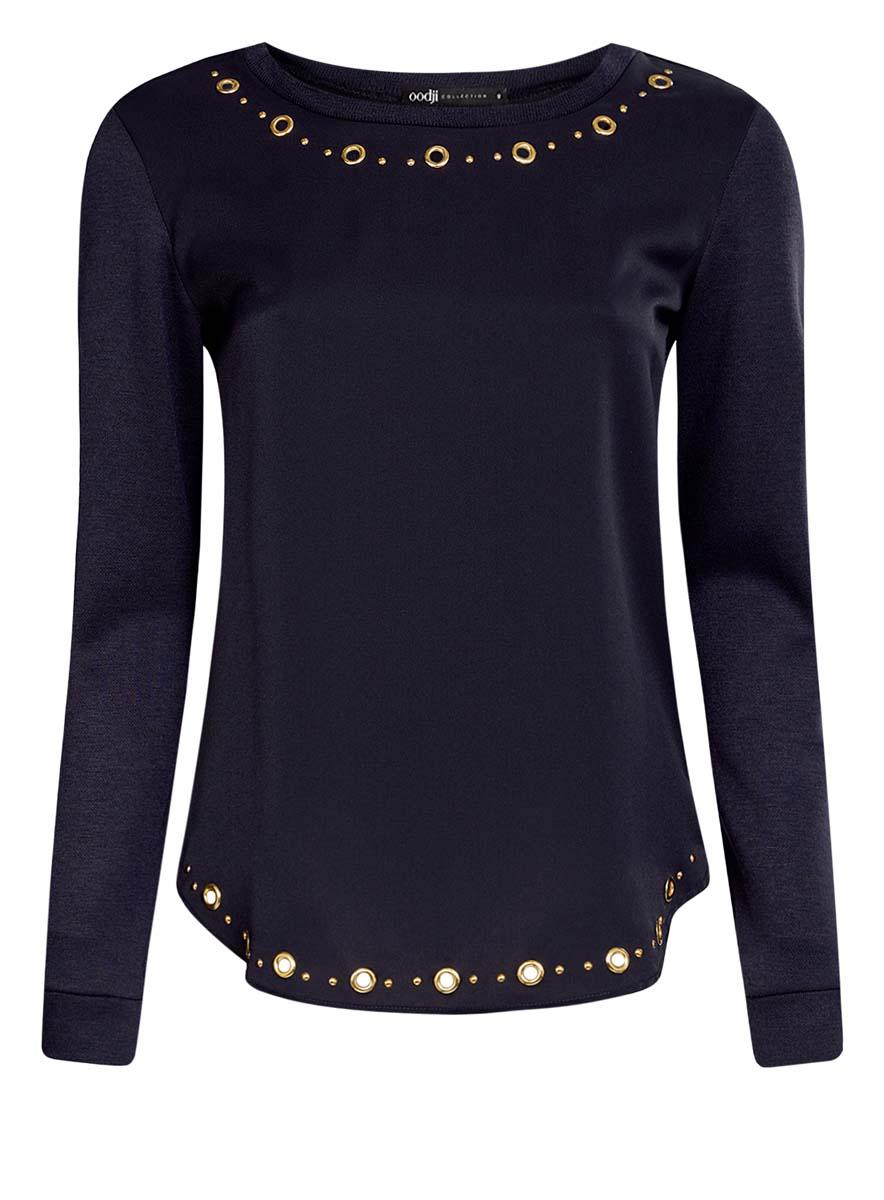 24201014/43616/4597PЖенская блузка oodji Collection выполнена с круглым вырезом воротника и длинными рукавами. Модель имеет свободный крой и трикотажные спинку и рукава. Декорирована металлической фурнитурой золотистого цвета.