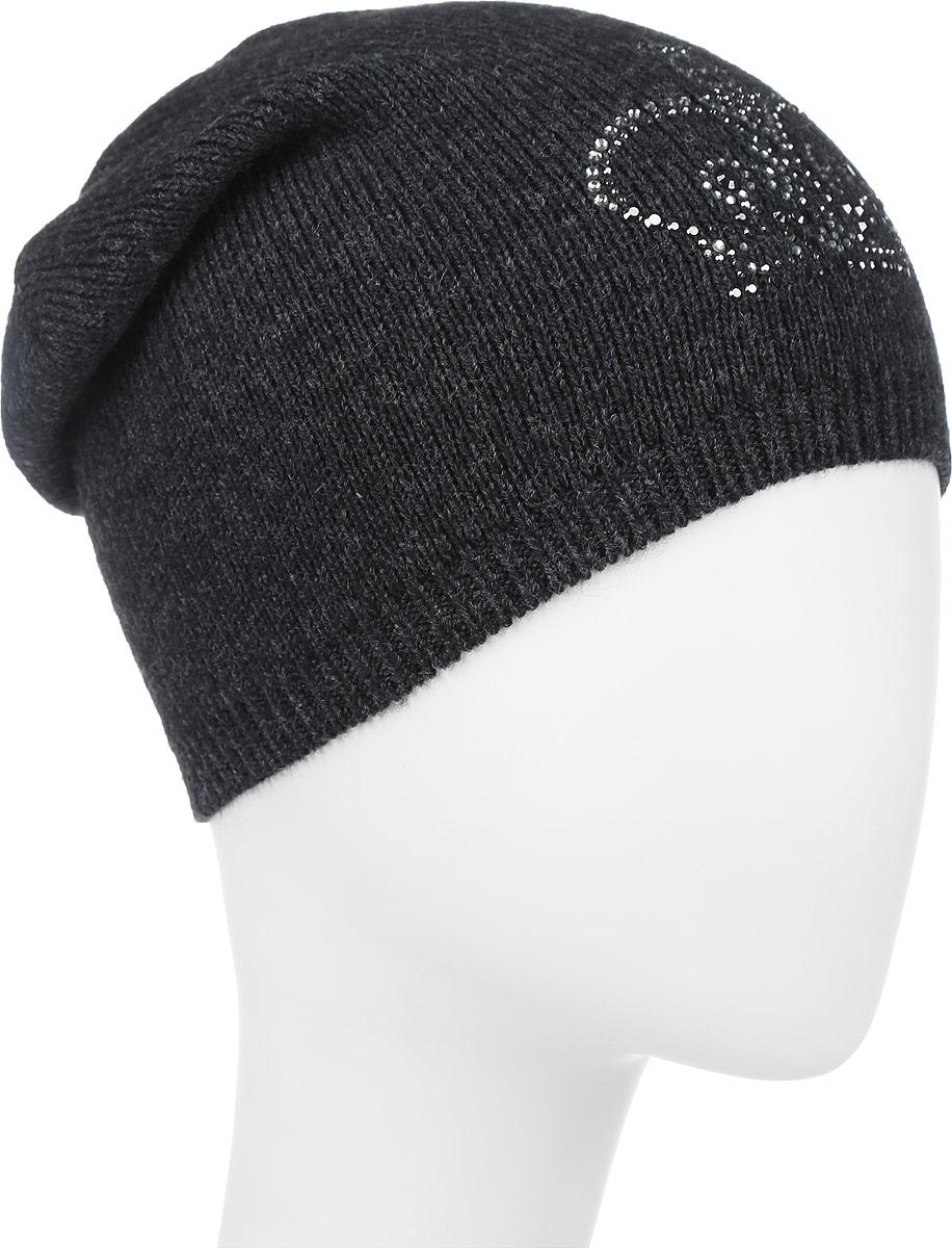 ШапкаF2261939F-44Вязаная женская шапка Vittorio Richi выполнена из шерсти с добавлением акрила. Модель дополнена аппликацией из стразов в виде короны. Уважаемые клиенты! Размер, доступный для заказа, является обхватом головы.
